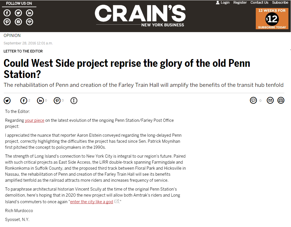 Featured in Crain's New York: Could West Side Project